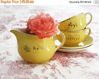 Vintage wedding cups and tea set, Cups and saucers, pastel yellow and gold porcelain marriage, drink ,Toi et moi,Nous Deux coffee / tea set.