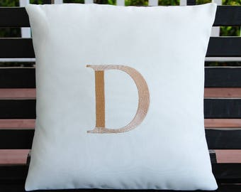 Monogrammed Outdoor Pillow Cover in Natural White | Tan Initial | Personalized | Alphabet | Embroidered | Wedding Gift | Housewarming Gift