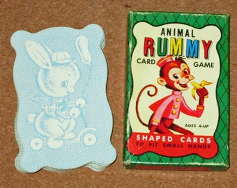Vintage ANIMAL RUMMY DECK Card Game Shaped Playing Cards by Built-Rite