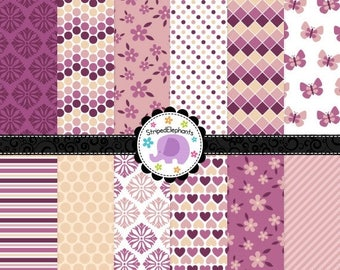 40% OFF SALE Pretty Plum Digital Paper Pack, Digital Scrapbook Papers, Digital Backgrounds, Instant Download, Commercial Use