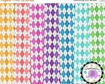 40% OFF SALE Argyle Digital Papers White, Background Digital Scrapbook Paper, Digital Paper Pack, Instant Download, Commercial Use