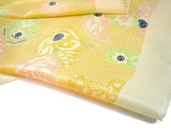 Summer Paisley Floral Scarf, Retro Mod Dotted ... 26 Inch Square, Robinson & Golluber ... Yellow, Pink, Lime Green, Navy Blue
