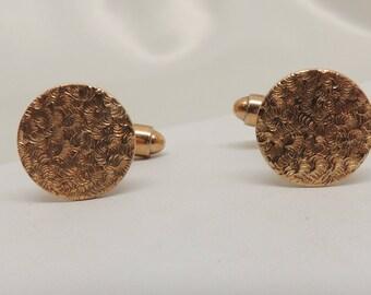 Vintage Round Gold Cuff Links