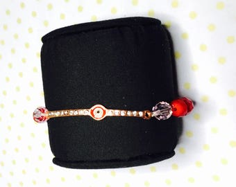 Lucky evil eye Bracelet, Red crystals, stretchy, beaded, layering, handmade, item no. L430