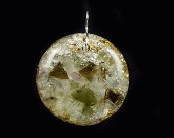 Moldavite Orgone Pendant with Fluorite, Arkansas, Petalite & Phenacite Crystals, Elite Shungite, Tourmaline, Selenite, Rhodizite (d17)