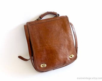 Vintage Leather Messenger Briefcase Leather Backpack Laptop Bag Satchel