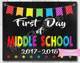 First Day of Middle School Chalkboard sign, Instant Download, 1st Day of middle school printable, 6th Grade, Preschool graduation invitation