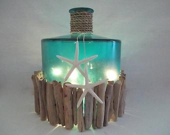 Turquoise/Aqua Large Glass, Driftwood, Starfish, Plug In Lights