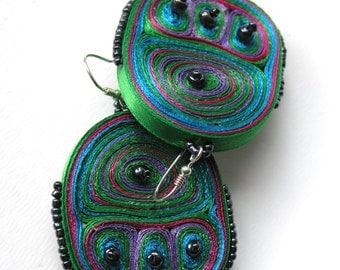 Dangle earrings green, fiber  earrings, textile earrings, fabric earrings, gift for woman, gift for her - Textile jewelry ready to ship