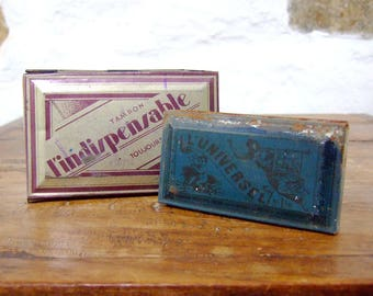 2 Ink pads FRENCH vintage stamp pads fabric tins antique tins rusty