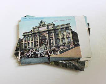 25 Vintage Rome Italy Unused Postcards Blank - Unique Travel Wedding Guest Book, Reception Decor, Travel Journal Supplies