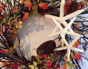 Fall Wreath-Beach Fall Wreath-Twig Beach Wreath-Rustic Beach Wreath-Autumn Decor