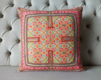 "18""x18 Vintage Cotton Hmong textiles, Handwoven Fabric,Scatter cushions and pillows, vintage textiles,"