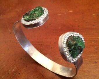 Summer SALE Uvarovite sterling silver handmade bangle bracelet