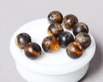 Set of 10 New Natural Genuine Baltic Amber smooth round beads. Unpolished raw black gemstone 8 mm (n11)