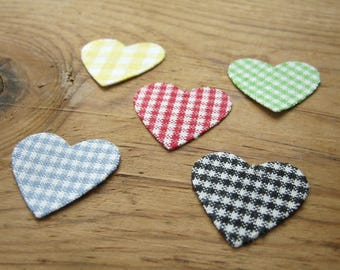 Handmade Heart Stickers Gingham Cotton 1 inch Die Cut - 5 Hand Crafted Stickers