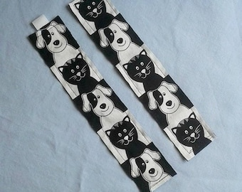 Dogs and Cats Bookmark / Fabric Bookmark / Dogs / Cats / Bookmark