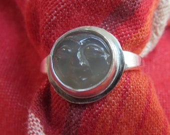 Carved Moon Face Moonstone in Argentium Sterling Ring Size 6