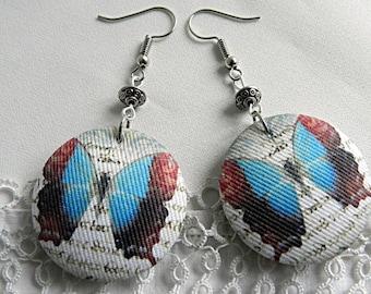 Cloth earrings, butterflies