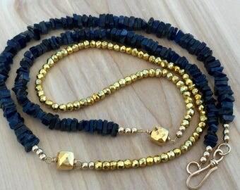 Gold Pyrite Navy Blue Kyanite Necklace, Gold Blue Chunky Necklace, Long Stone Necklace, Navy Gold Statement Necklace, Modern Bold Necklace