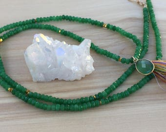 Green Onyx Tassel Necklace, Long Emerald Green Beaded Necklace, Green Gold Pyrite Necklace, Green Tassel Necklace, May Birthstone, Long