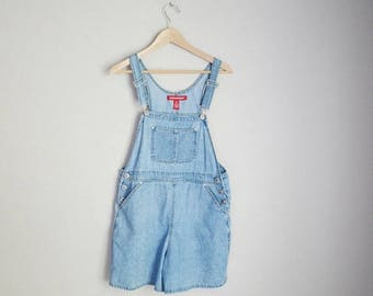 Summer SALE - 20% off - vintage 90s light wash overall shorts shortalls dungaree shorts -- womens petite medium