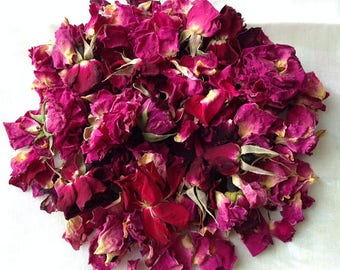 1/2lb Organic Dried ROSES PETALS & BUDS, Biodegradable Confetti, 100% Natural Dried Wedding Flower, Untreated Bulk Red Pink