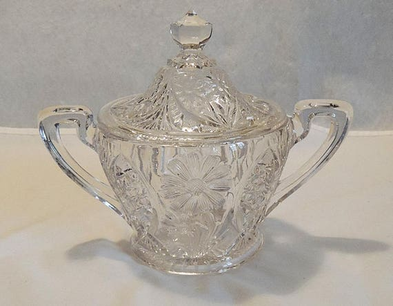 Vintage Near Cut Pressed Glass Double Handle Covered Sugar Bowl