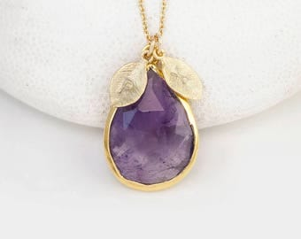 Purple Amethyst Necklace, Personalized Jewelry For Mom, February Birthstone Necklace Gold, Custom Initial Necklace, Meaningful Gifts, Unique