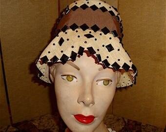 Vintage Straw Cloche Hat with Pyramid Black Metal Studs