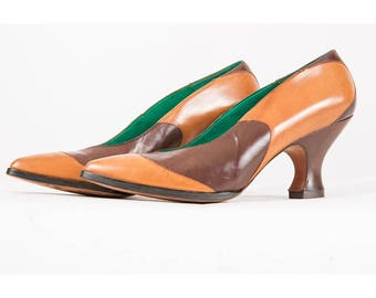 Fred Slatten for Totar shoes / Vintage leather spool heeled pointed toe pumps / Exquisite curvy color block heels / 5