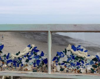 2 pane vintage window  with mermaids riding a wave of blue beachglass