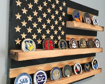 Military Challenge Coin Display Rack Holder Collector Us Wood
