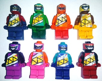 Crayon Lego sized Power Rangers Party Favors - Crayons Mini figures - set of 8 Children's Gift