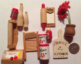 Miniature kitchen items accessories  for dollhouse