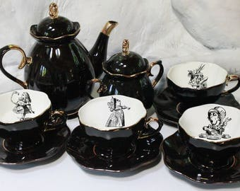 SELECTED SECONDS Black Gold Alice in Wonderland Tea Set, 11 Pieces, FOODSAFE and Durable, Alice in Wonderland Teacup, Wonderland Tea Items
