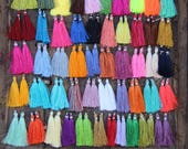 "SILK TASSELS, New Colors Art Silk Tassel, Jewelry Making, DIY Craft Supplies, Colorful Fringe, 2"".  30 pieces, You Choose Custom Colors"