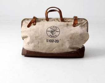 vintage Klein Tools bag, canvas lineman's bag