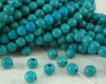 Turquoise howlite round 6mm Gemstone jewelry beads Full Strand 15.5 inches small blue beads