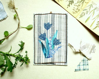 Blue botanical flowers - small textile wall picture