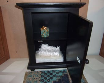 1:6th scale  Dollhouse Bedroom Furniture BARBIE BLYTHE FASHION Royalty Spacious Solid Wood Wardrobe  Bedroom Storage Chest Shelved Black