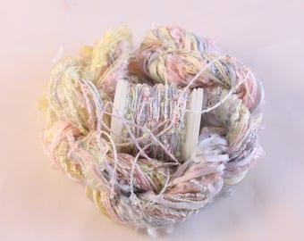 Pale Blue pink lemon Silk ribbon beaded thread Silk Embroidery thread doll hair seed bead sequin yarn embellishment weaving supplies