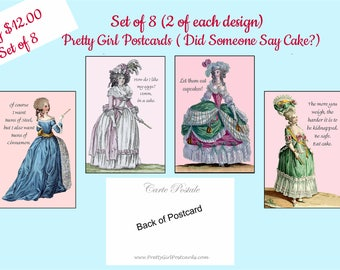 Set of 8 Pretty Girl Postcards ~ Did Someone Say Cake? ~ Funny Postcards ~ Marie Antoinette ~ Funny Quotes ~ Funny Sayings ~ Cinnamon Buns