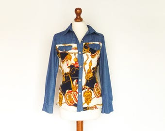 Vintage Country Western Cowgirl Equestrian Womens Blouse Shirt / Blue Denim / Buttoned / Collar / Long Sleeves / extra small