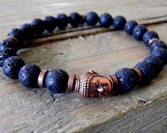 Men's Buddha Bracelet Men's Diffuser Bracelet Lava Stone Bracelet Meditation Healing Jewelry Essential Oil Bracelet Father's Day GIft