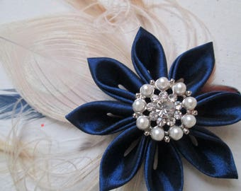 Navy Blue Wedding Fascinator, Something Blue Bridal Flower, Navy & Ivory- Champagne Peacock Head Piece, Rustic Feather Hair Piece, Veil