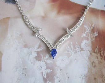 Deep Sapphire 2 piece set Wedding Necklace Bridal Necklace - Bridal Jewelry - Wedding Necklace - bridal set- Backdrop Bridal Necklace