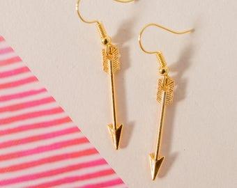 Gold Arrow Earrings, Arrow Drop Earrings, Arrow Earrings, Teenage Gift, Arrow Charm Earrings, Arrow Jewellery, Arrow Jewelry, Golden Arrows