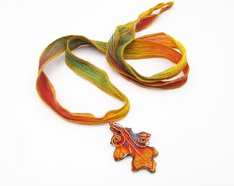 Autumn Inspired Copper Maple Leaf Necklace - Multicolor Silk Ribbon, Adjustable