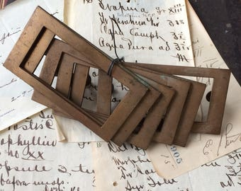 A Great Set Of Salvaged Brass Label Frame Drawer  Hardware